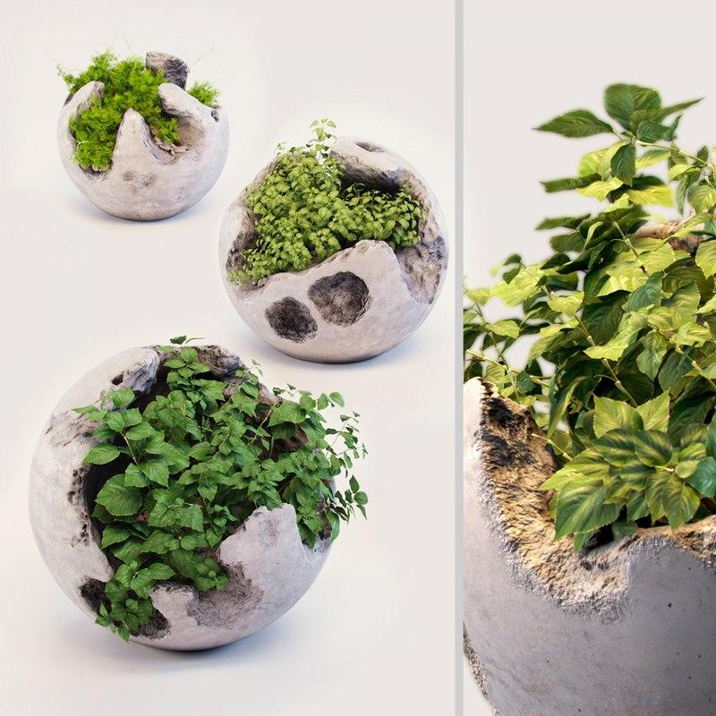 3D concrete sphere plant model