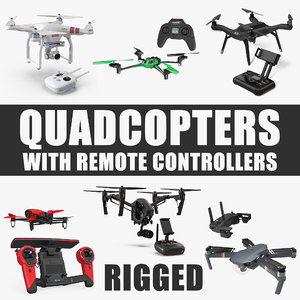 3D quadcopters remote controllers rigged model