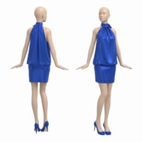 3D female mannequin cocktail party