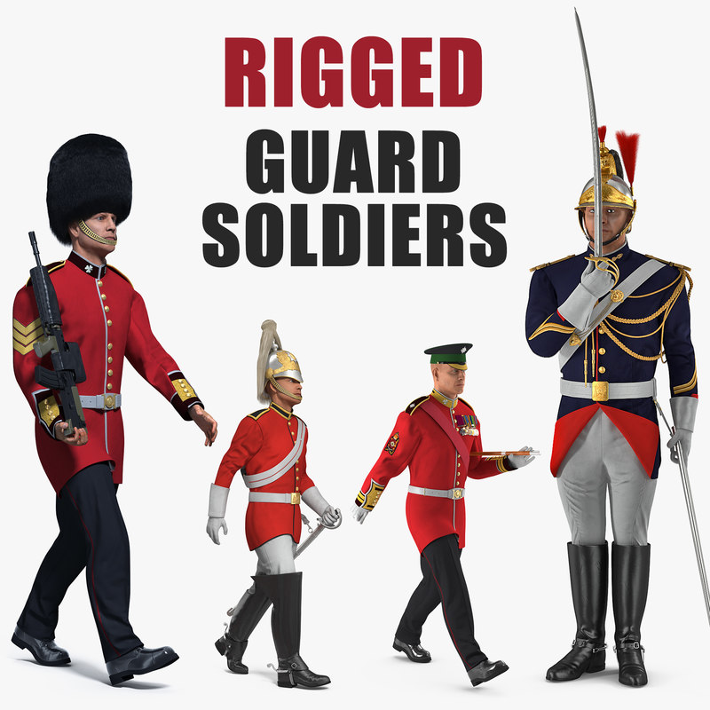 3D rigged guard soldiers model