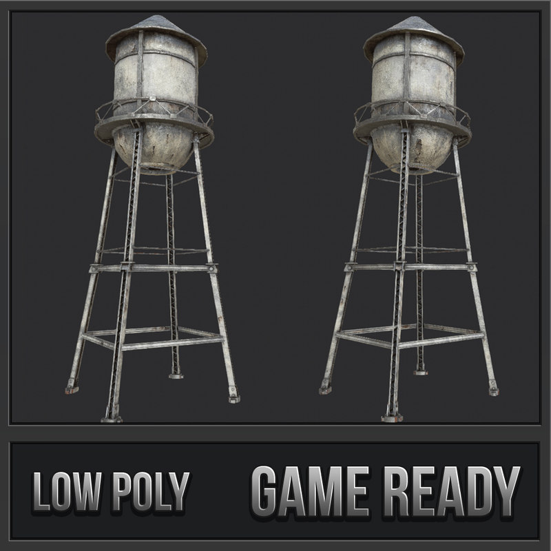 3D old water tower pbr