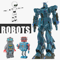 3D model robots retro toy