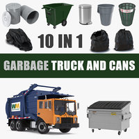 Garbage Truck and Cans Collection