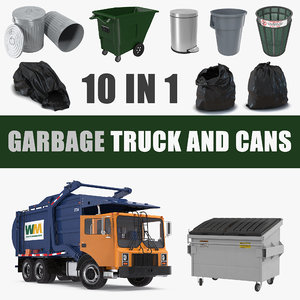 garbage truck cans bag model