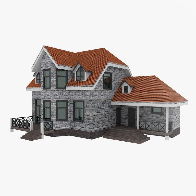 3D american suburban house