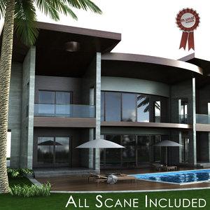 3D modern villa model