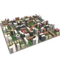 cityscape district cartoon town low poly