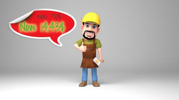 3D model bearded worker holding hammer