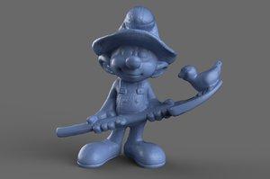 smurf figurine toy 3D model