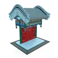 asian architecture floral-pendant gates model