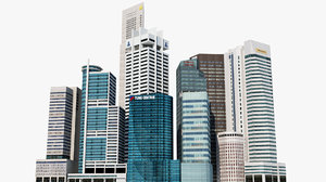 singapore 2 skyscrapers 3D model