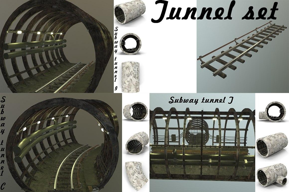 3D subway tunnel set model