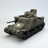 3D american medium tank m3 model