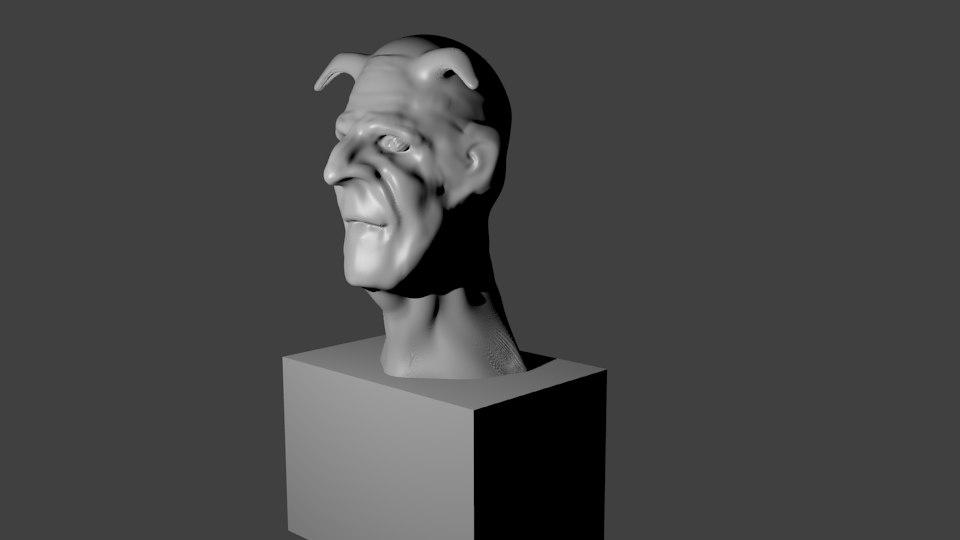 3D model devil bust sculpted