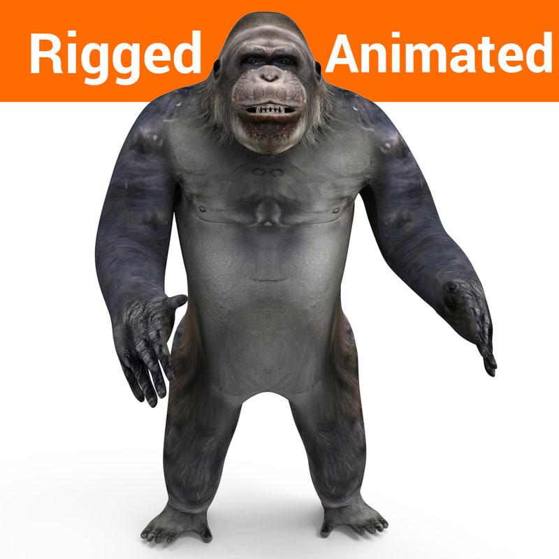 3D model gorilla rigged animation