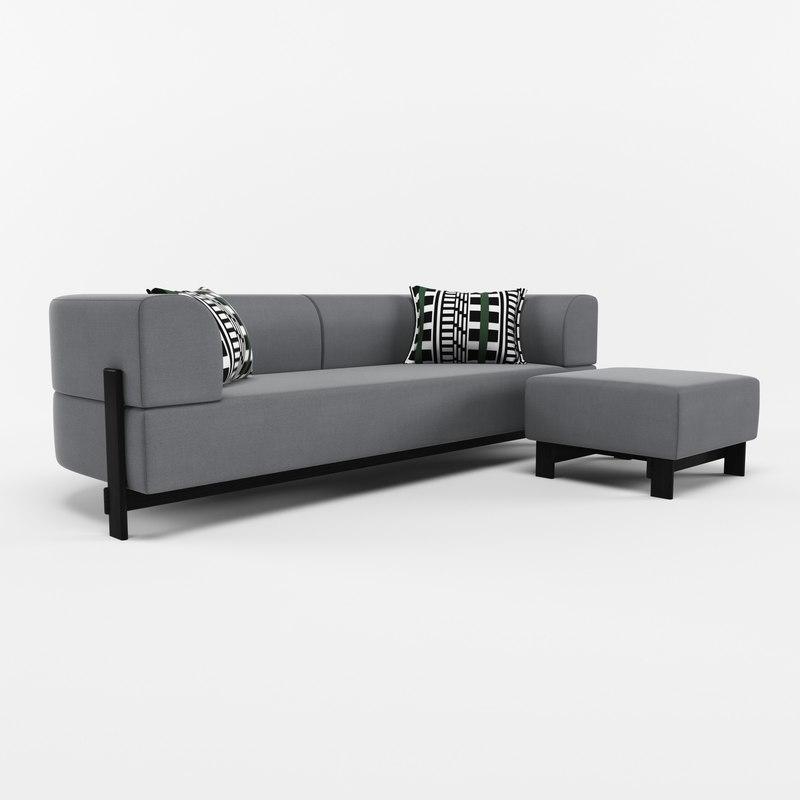 3D model sofa ottoman