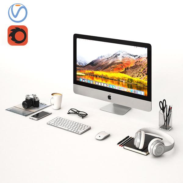desktop office 3D model