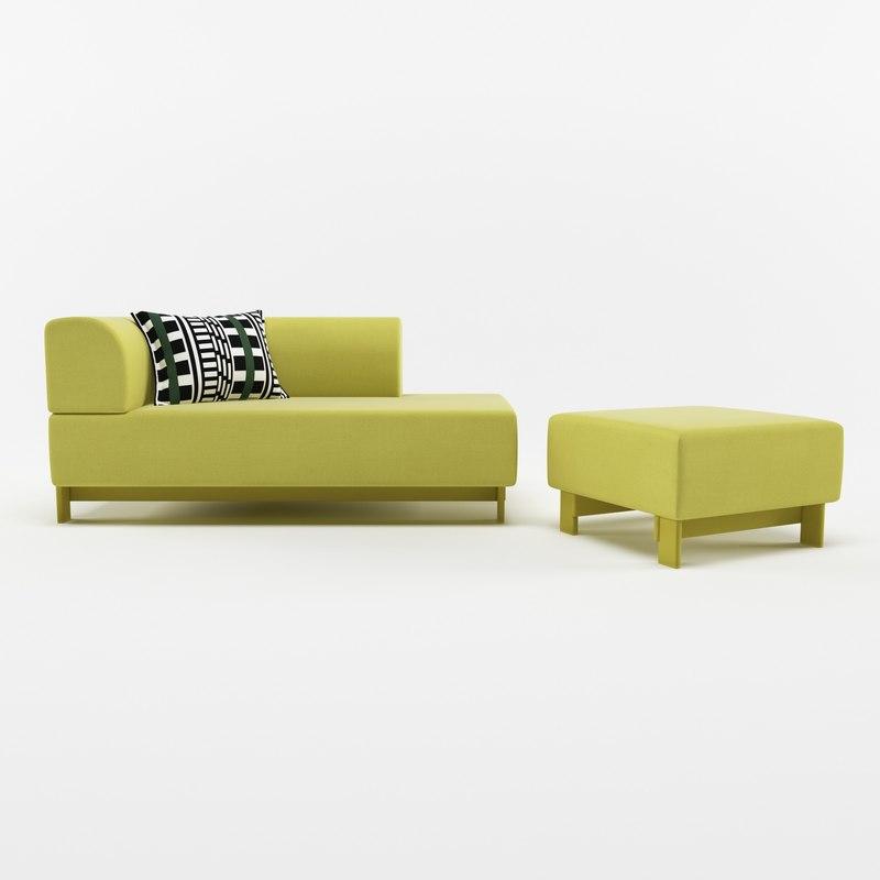 sofa ottoman 3D model