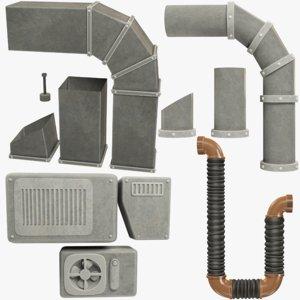 set pipes ventilation 3D model