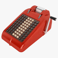 3D retro adding machine model
