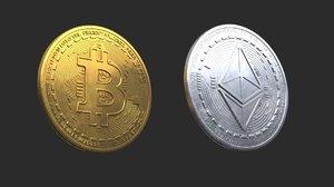 bitcoin ethereum coins 3D model