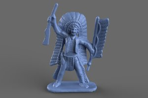 3D native american miniature