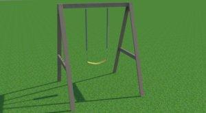 modern wooden swing 3D model