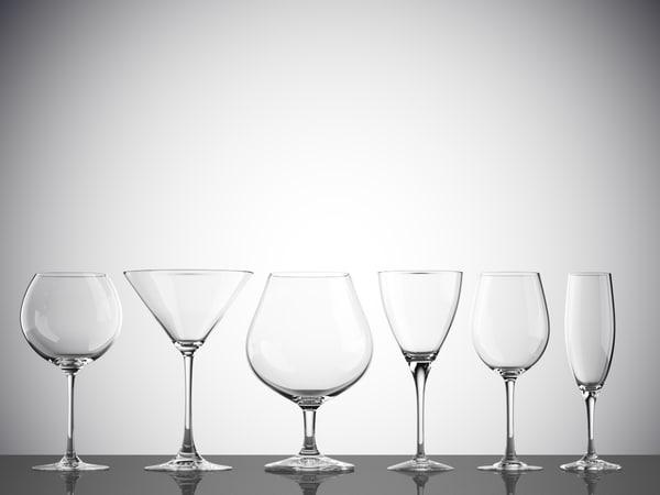 3D model glasses water