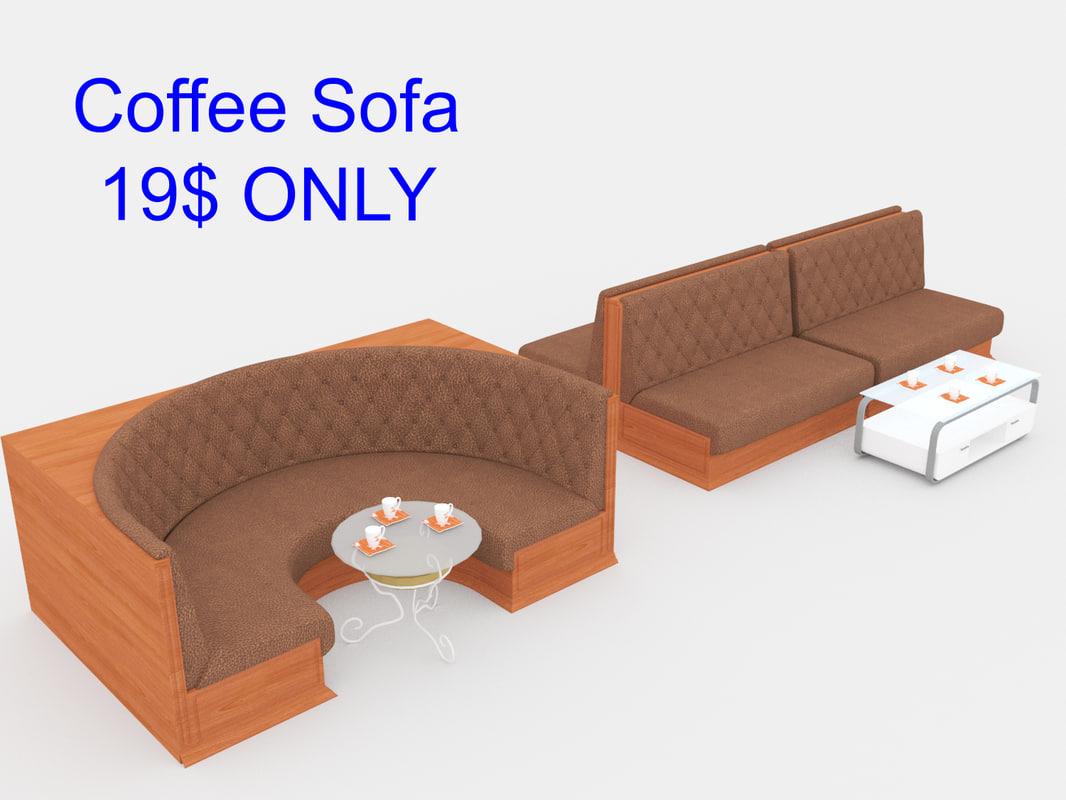 3D model sofa set coffee