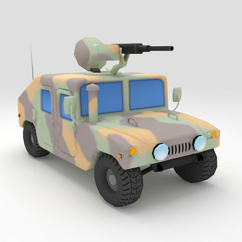 3D cartoon hmmwv low-poly