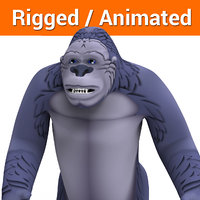 cartoon gorilla rigged animation 3D model