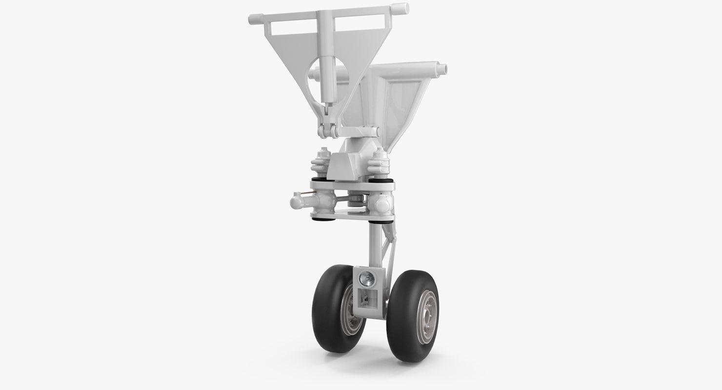 3D aircraft jet landing gear model