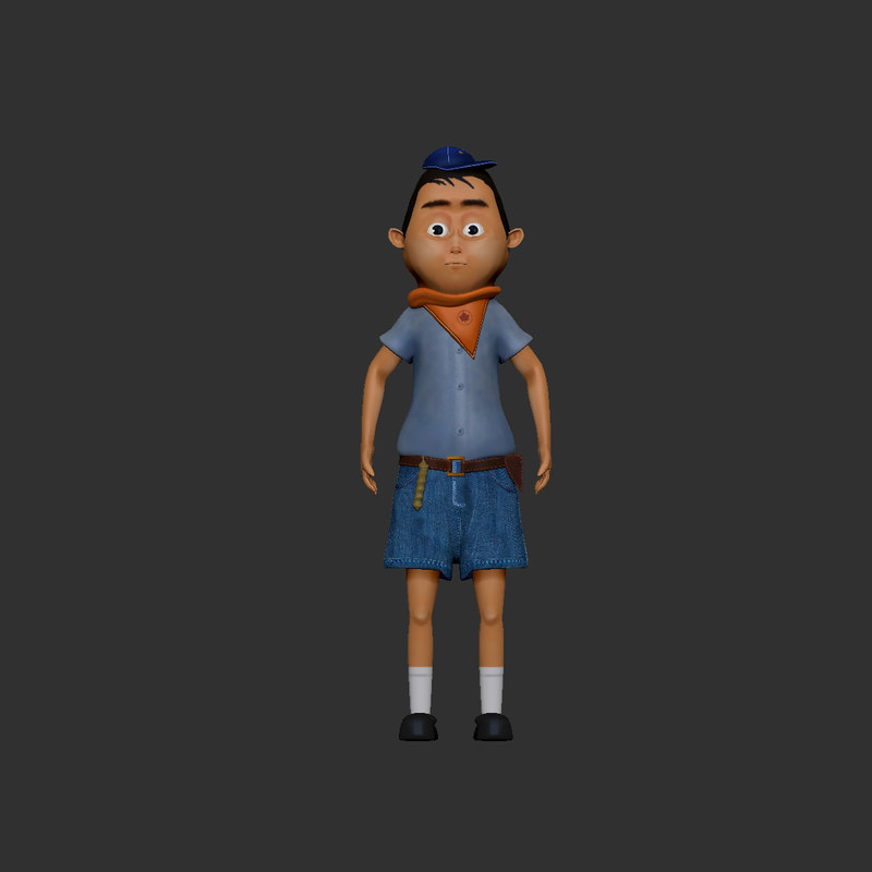 cartoon boy character 3D model