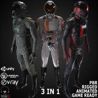 sci-fi suit male 3D