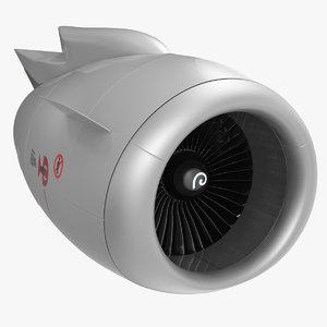 3D aircraft jet turbofan engine