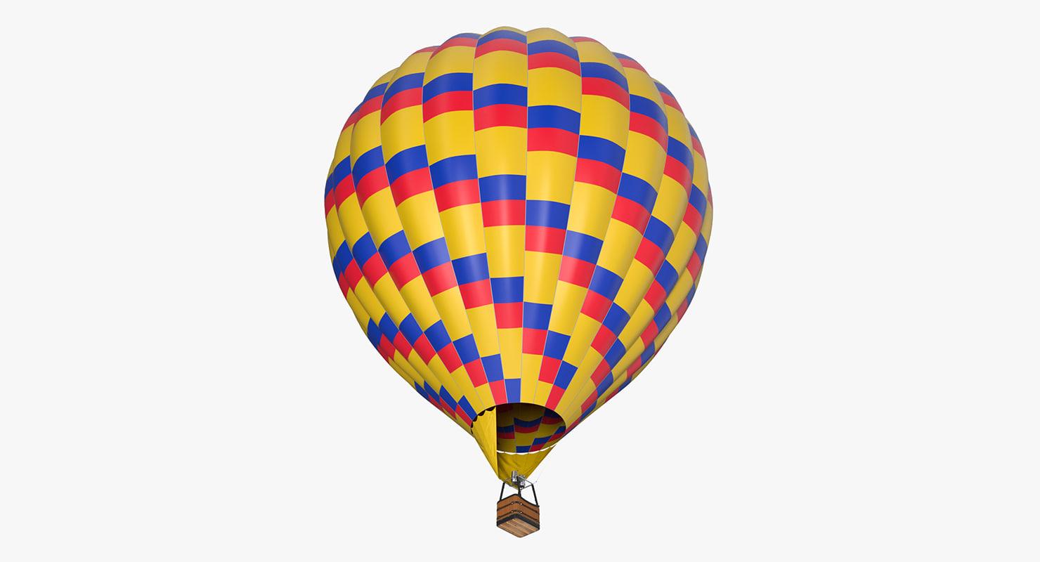 3D colorful hot air balloon model