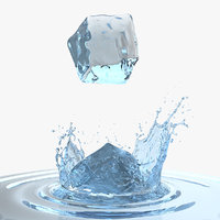 ice cube water splash 3D
