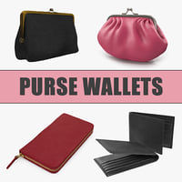 Purse Wallets 3D Models Collection