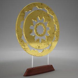 3D gold ornament tabletop