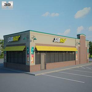 3D subway restaurant model