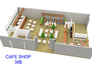 3D coffee shop cafe interior