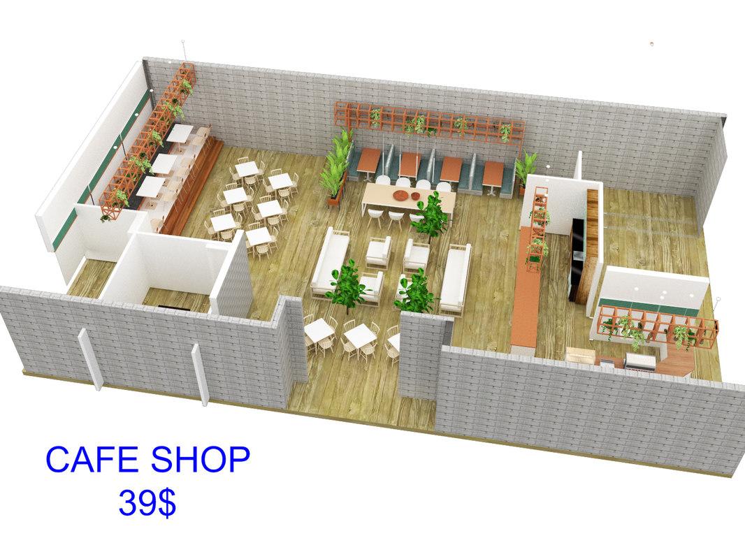 3D coffee shop cafe interior