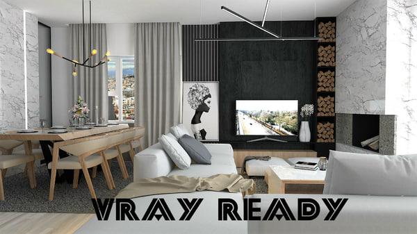 3D interior living room model
