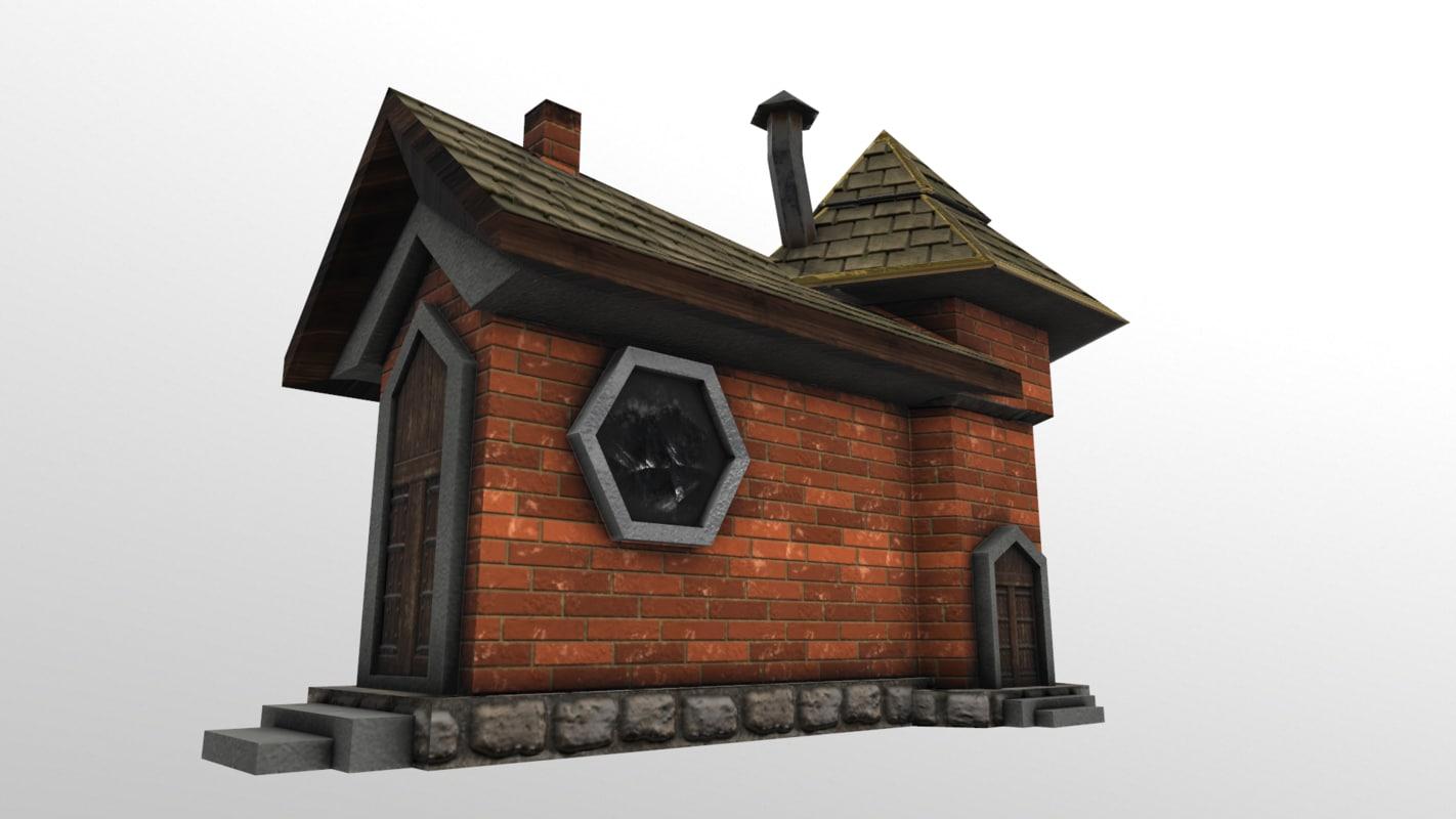 low-poly fantasy castle 3D model