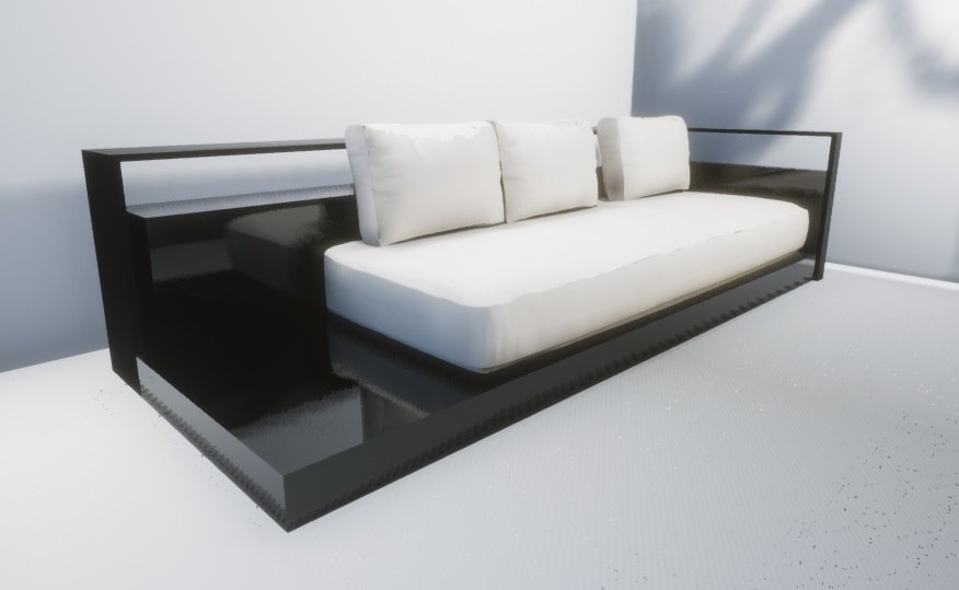 3D hotel sofa reception model