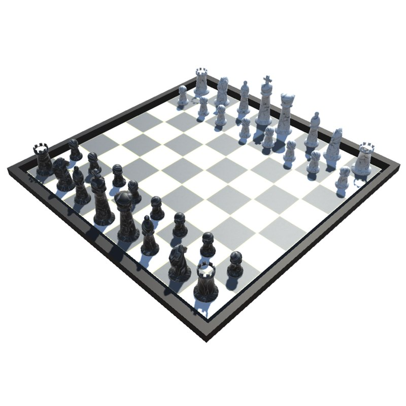 low-poly chess set model