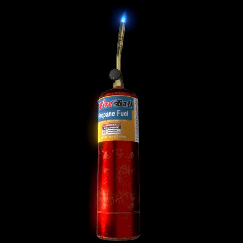 3D model pbr propane torch