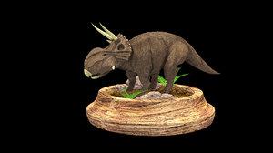 3D dinosaur platform stones model