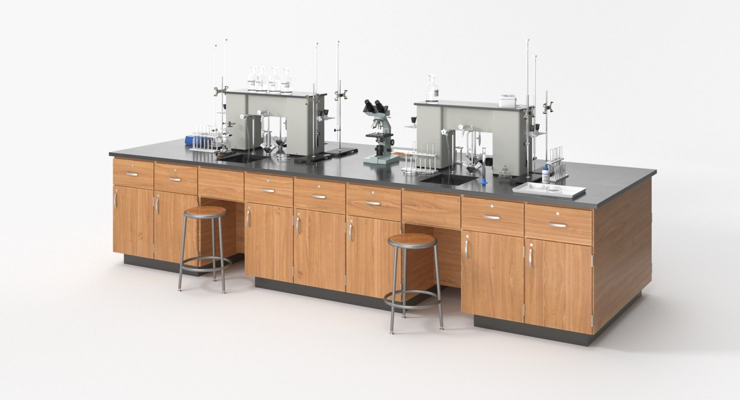 realistic laboratory table 3D