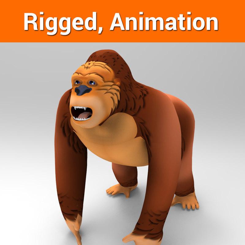 cartoon gorilla rigged animation 3D model